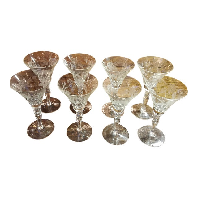 Vintage Panel Cut & Engraved Small Wine or Port Glasses - Set of 8 For Sale