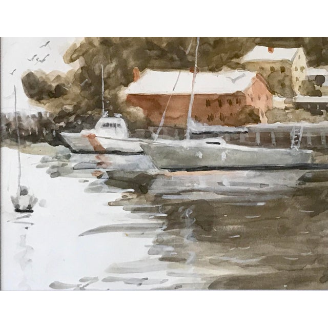 American Vintage American Watercolor Boats Long Island New York by Harry Barton For Sale - Image 3 of 7