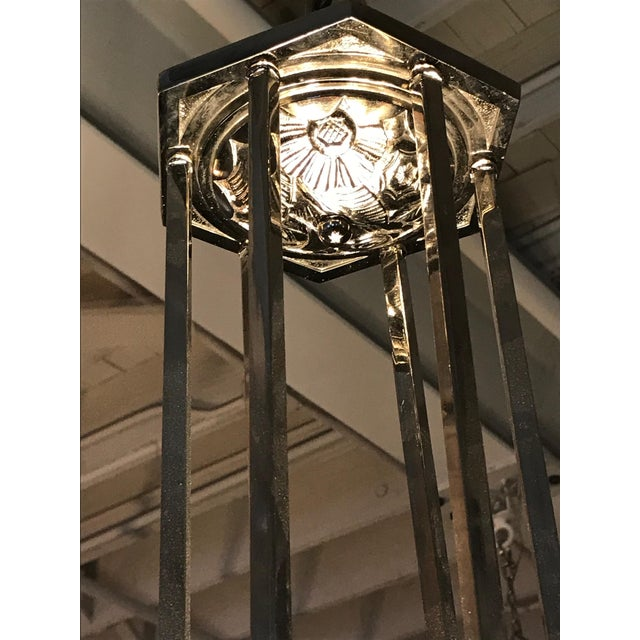 French Art Deco Chandelier Signed by Degué For Sale - Image 11 of 12