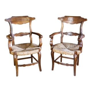 Pair French Rush Seat Wood Arm Chairs, circa 1920