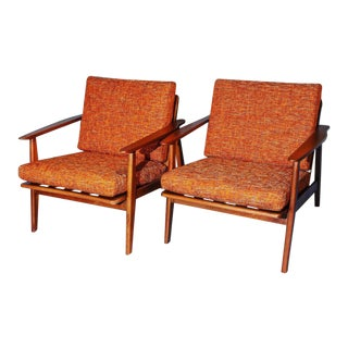 1960s Mid-Century Curated Danish Lounge Chairs with New Orange Cushions - a Pair For Sale