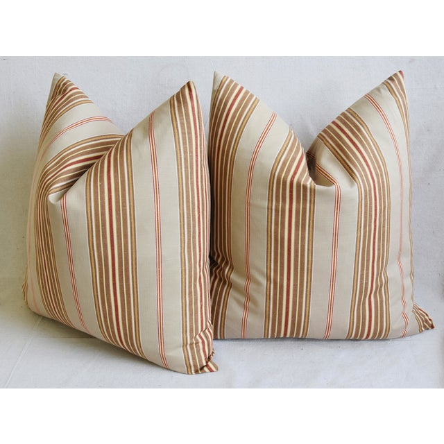 "French Striped Ticking Feather/Down Pillows 23"" Square - Pair For Sale - Image 9 of 12"