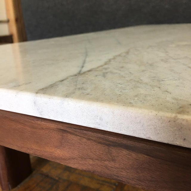 Walnut & Marble Coffee Table - Image 4 of 9