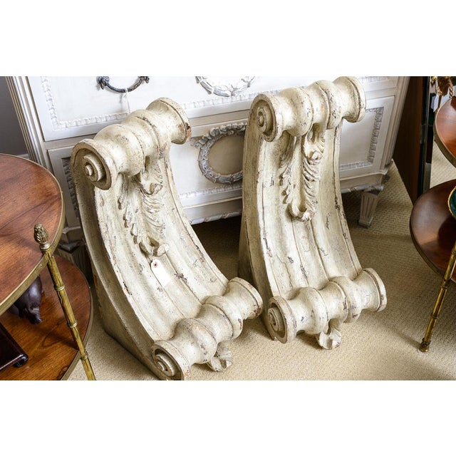Antique Large Classical Wood Carved Painted Corbels - a Pair For Sale - Image 12 of 13
