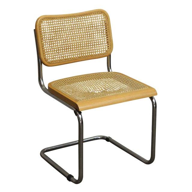 Vintage Cane Wood & Chrome Cesca Style Chair For Sale