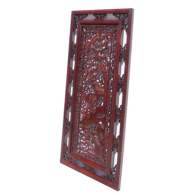 Asian Chinese Wooden Rectangular Wall Screen For Sale - Image 3 of 6