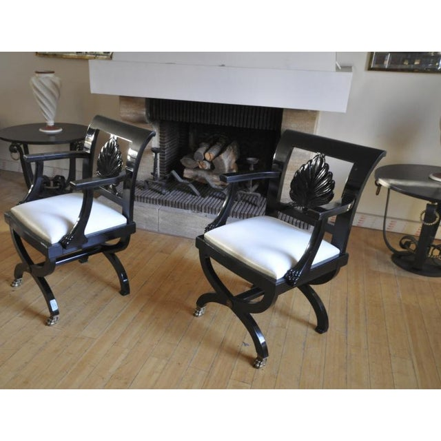 Maison Jansen Chicest Black Neoclassic Exceptional Pair of Armchairs.
