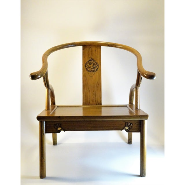 Vintage Chinese Horseshoe Elm Wood Chair For Sale - Image 13 of 13