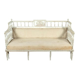 19th Century Swedish Neoclassical Carved and Painted Sofa Bench For Sale