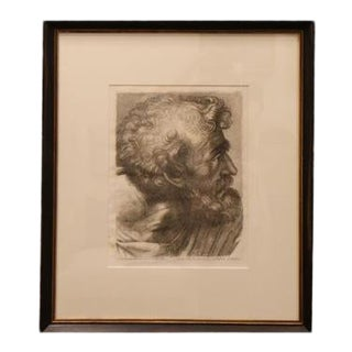 Antique Etching of Roman Bust by Cassini For Sale