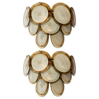 Modernist 9-Disc Hand Blown Murano Topaz & Translucent Glass Sconces - a Pair For Sale