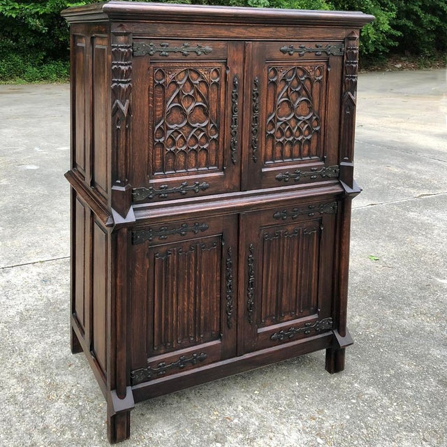 Early 20th Century Antique French Gothic Cabinet For Sale - Image 5 of 12