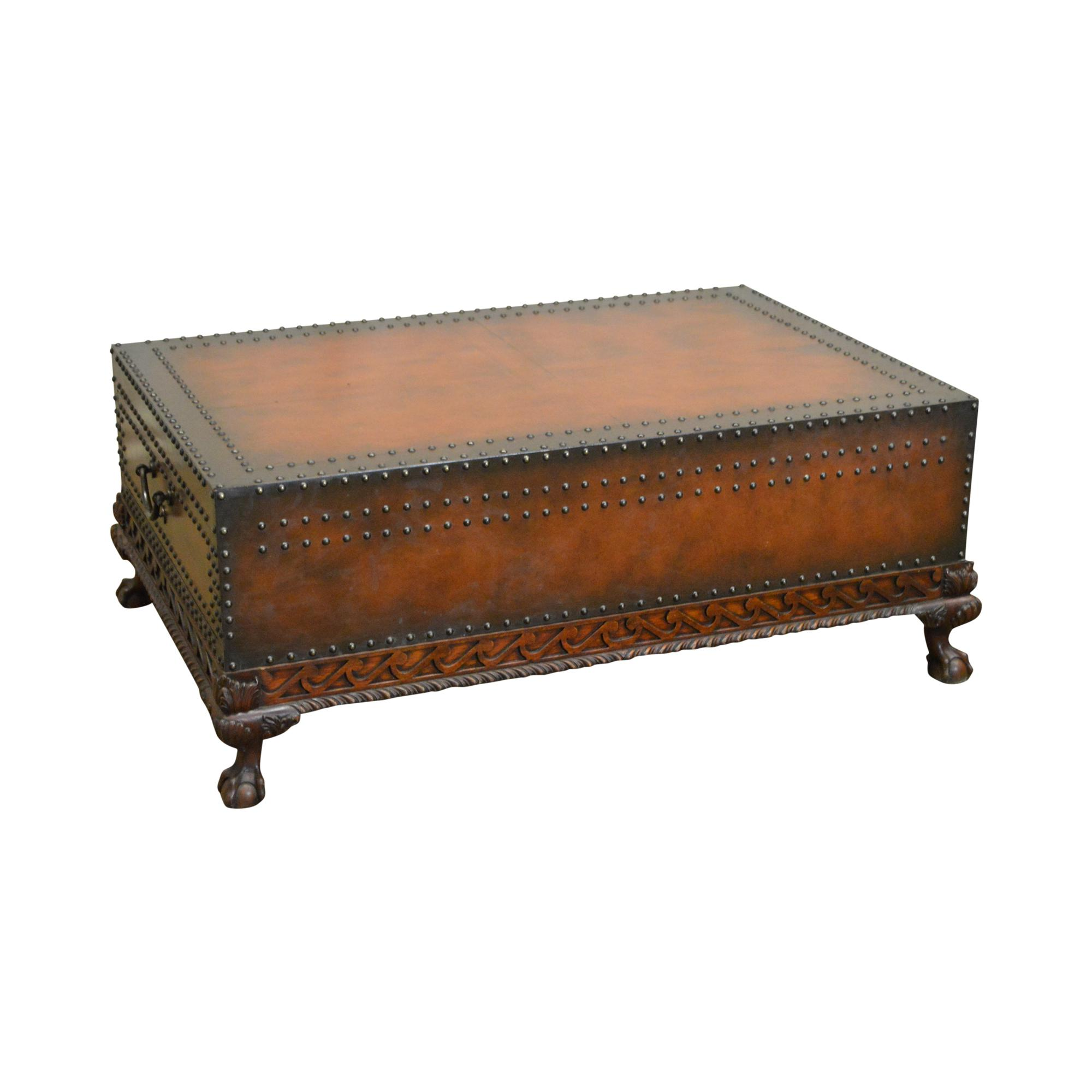 Ralph Lauren Dalton Leather U0026 Nailhead Mahogany Cocktail Coffee Table W/  Drawers For Sale