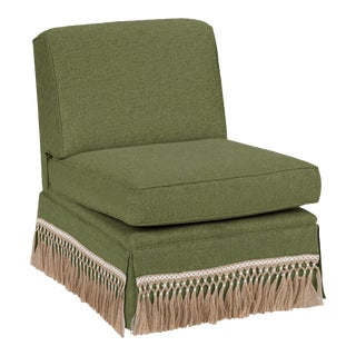 Casa Cosima Skirted Slipper Chair, Pine For Sale