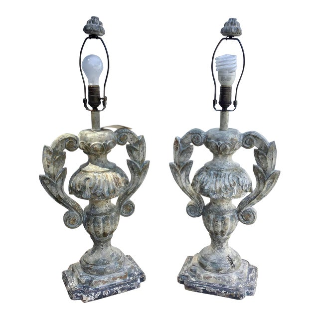 Carved Distressed Wood Italian Urn Table Lamps For Sale