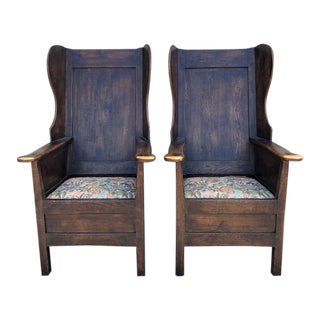 English Oak Reproduction Lambing Chairs - a Pair For Sale