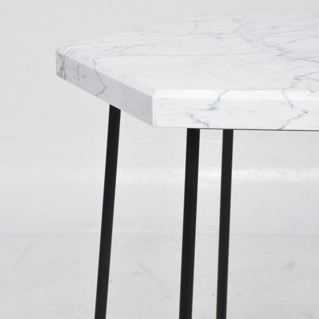 Jean Royère French Modern Sculptural Metal & Marble Hexagonal Side Table After Jean Royere For Sale - Image 4 of 9
