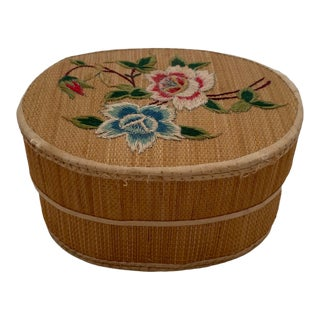 Vintage Embroidered Rattan Trinket Box For Sale