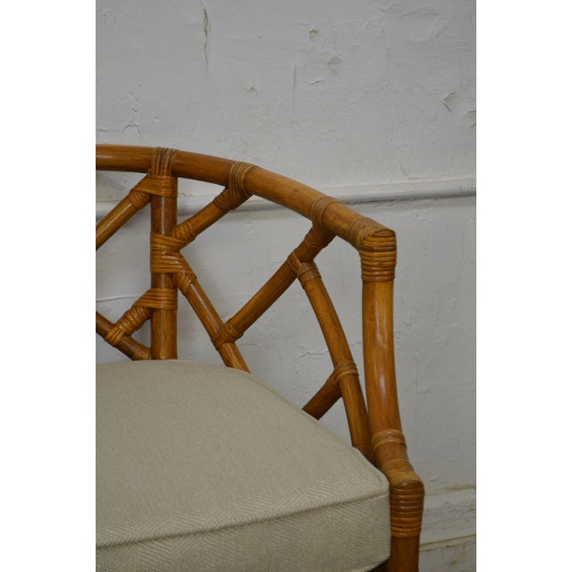 McGuire Style Rattan Bamboo Barrel Back Club Chairs - a Pair For Sale - Image 5 of 13