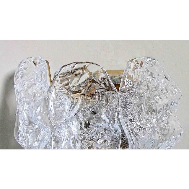 1960s 1960s Italian Murano Clear Textered Curved Glass Sconces - a Pair For Sale - Image 5 of 12