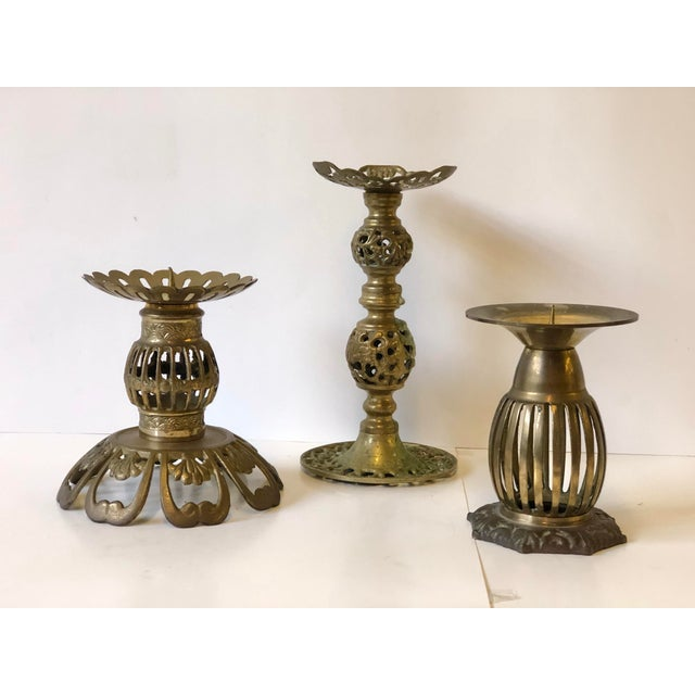 1970s Brass Bohemian Candlesticks - Set of 3 For Sale - Image 10 of 11
