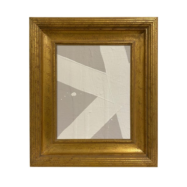 Ron Giusti Mini Abstract Grey Cream Painting, Framed For Sale - Image 4 of 4