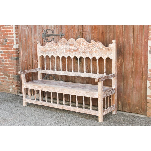 Spanish Colonial High Back Bench For Sale - Image 4 of 10