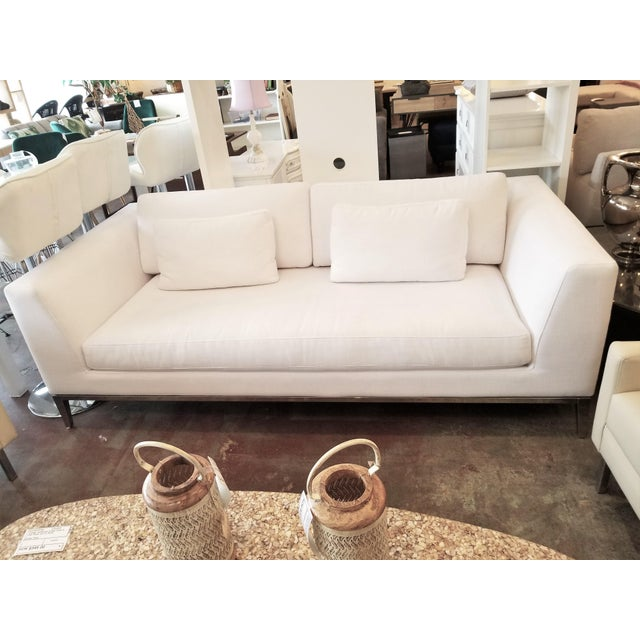 Restoration Hardware Italia Taper Arm White Sofa With Chrome Finish Legs For Sale In Los Angeles - Image 6 of 6