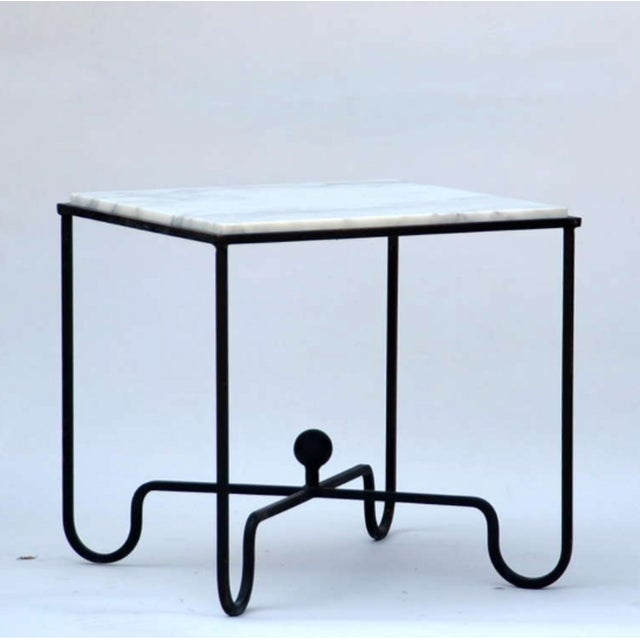 """Contemporary """"Entretoise"""" Wrought Iron and Marble Tables - a Pair For Sale In Los Angeles - Image 6 of 7"""