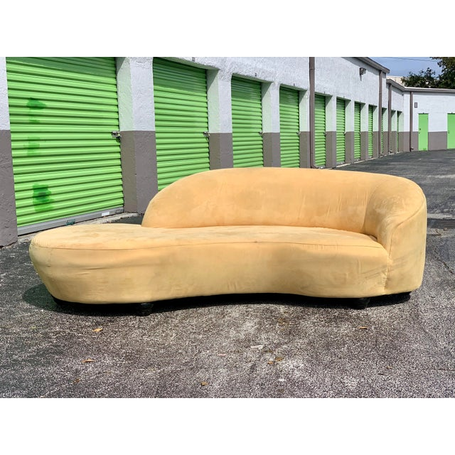 Vladimir Kagan Style Serpentine Tan Cloud Sofa For Sale - Image 10 of 11