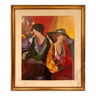 Lithograph by Patricia Govezensky of Two Woman Gilt Framed Signed For Sale