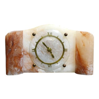 Early 20th Century Period Piece Art Deco Onyx Art Scotland Mantel Clock For Sale