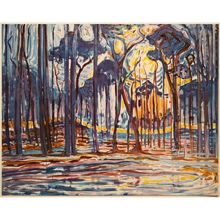 """1958 After Piet Mondrian """"Woods"""" Vintage Full Color Print From England For Sale"""