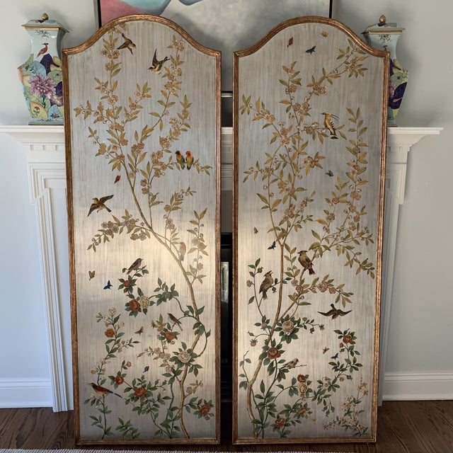 Hand Painted Chinoiserie Wall Panels- a Pair For Sale - Image 13 of 13