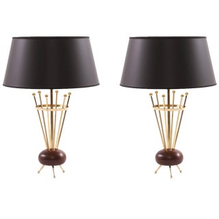 1950s Brass and Walnut Stiffel Table Lamps - a Pair For Sale