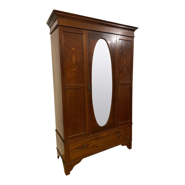 Late 19th Century Edwardian Wardrobe Cabinet With Mirror and Mother of Pearl Inlays For Sale