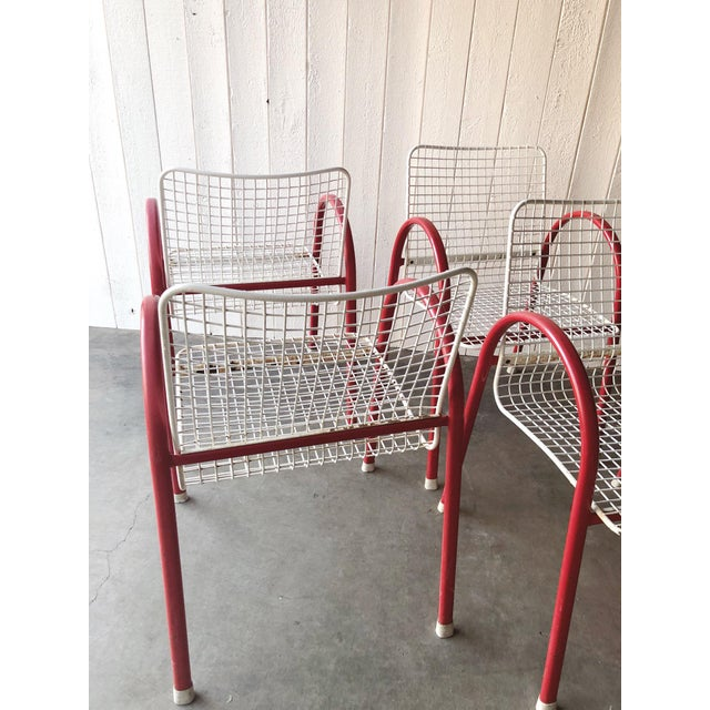 1980s 80's Vintage Designer Arc Grid Patio Chairs For Sale - Image 5 of 12