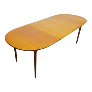 Vintage Mid Century Danish Modern Teak Oval Expanding Dining Table For Sale