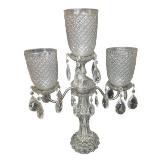 Vintage 1950s Table Top Crystal Candelabra Lamp For Sale