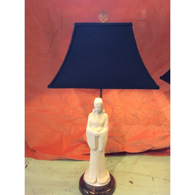 Ceramic Vintage 1940s Asian Porcelain Figure Lamps With Silk Pagoda Style Shades - a Pair For Sale - Image 7 of 12