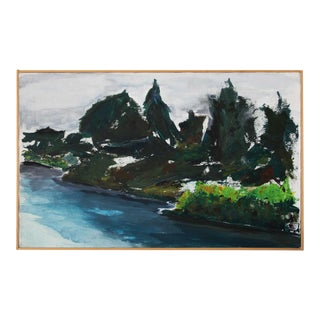 Late 20th Century Abstract Expressionist Landscape Painting by Harvey Alpert, Framed For Sale