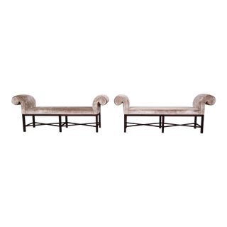 Baker Furniture Mahogany and Velvet Window Benches, Two Available For Sale