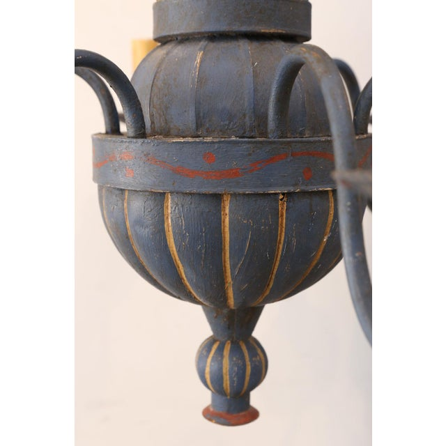 Gold Vintage Painted Tole Chandelier For Sale - Image 8 of 9
