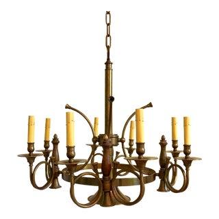 Brass French Horn 8 Light Chandelier For Sale