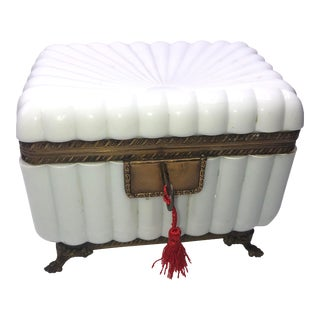 1950s French White Opaline Glass Box For Sale