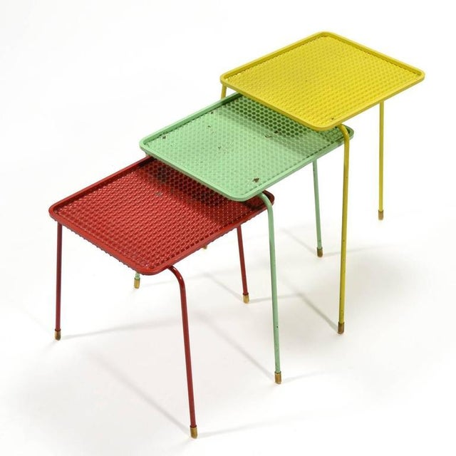1950s Mathieu Matégot Set of Three Soumba Nesting Table For Sale - Image 5 of 11