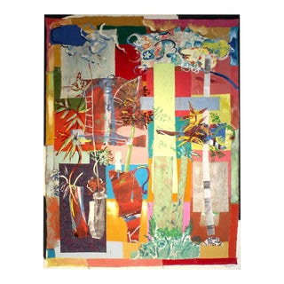"""Jacques Lamy Mixed Media Abstract Painting""""Backyard"""" For Sale"""