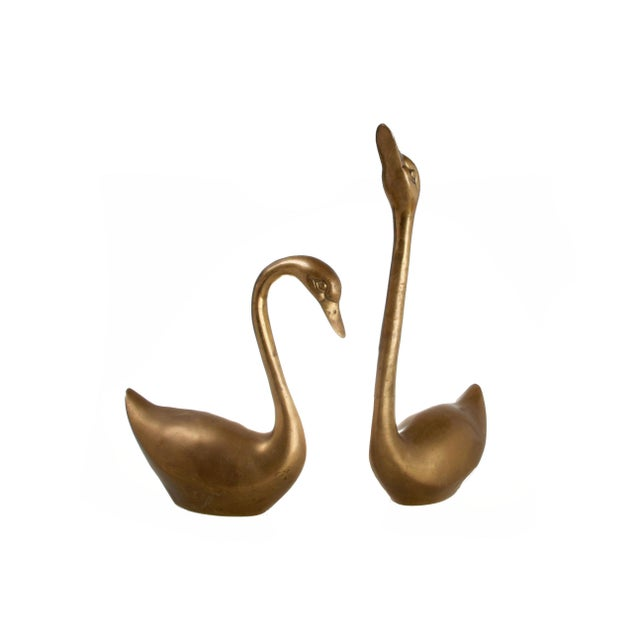 Mid-Century Brass Swans - A Pair For Sale In Miami - Image 6 of 6