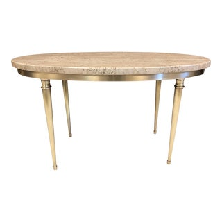 Modernist Italian Travertine and Brass Coffee Table