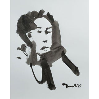 Contemporary Minimalist Portrait Ink Wash Painting by Jose Trujillo For Sale